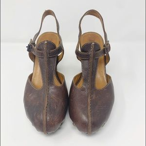 Frye Reese T-Strap Brown Leather Heeled Clogs 11